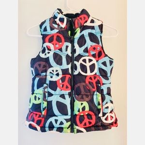 🌈 ☮️ Old Navy Rainbow Peace Sign Puffer Vest
